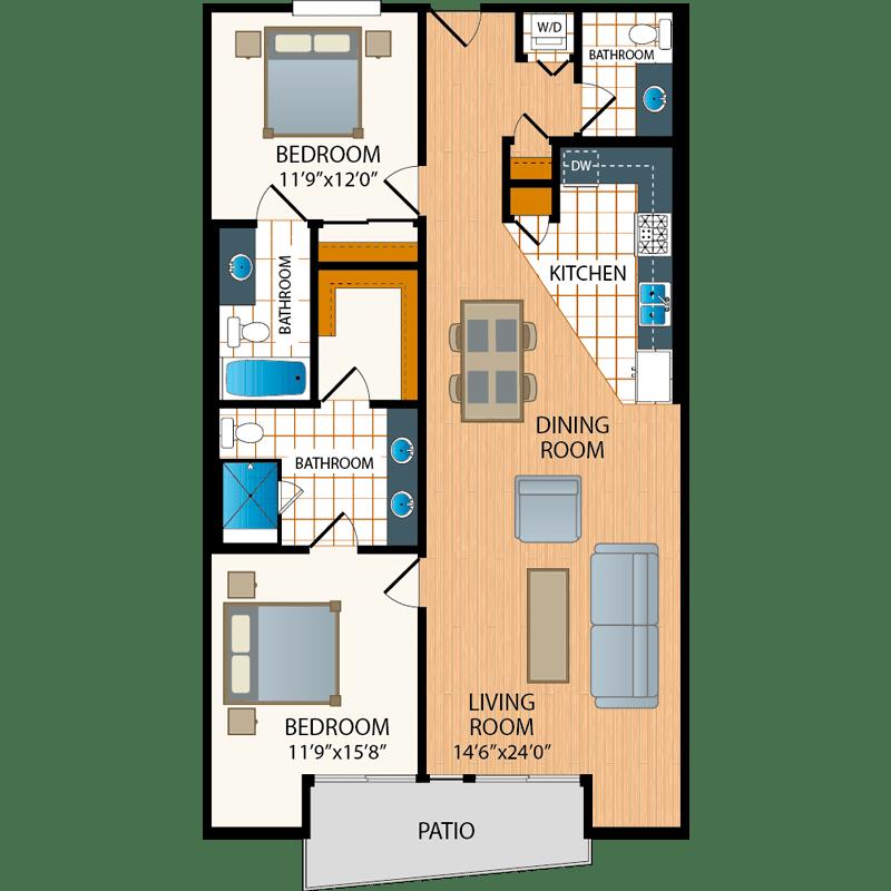2 bed, 2.5 bath floor plans